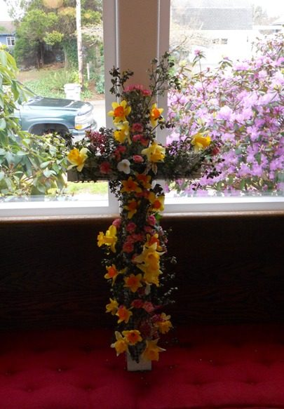 Left--The flower cross--a long tradition here!