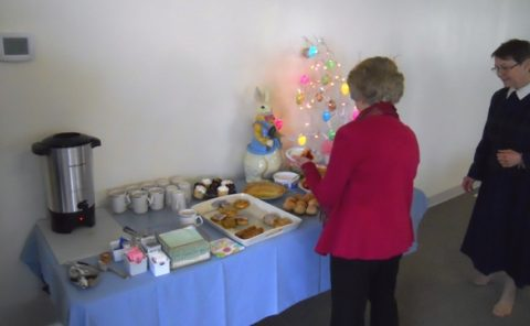 The Easter bunny and the Easter tree watch over our many treats--plenty for everyone!